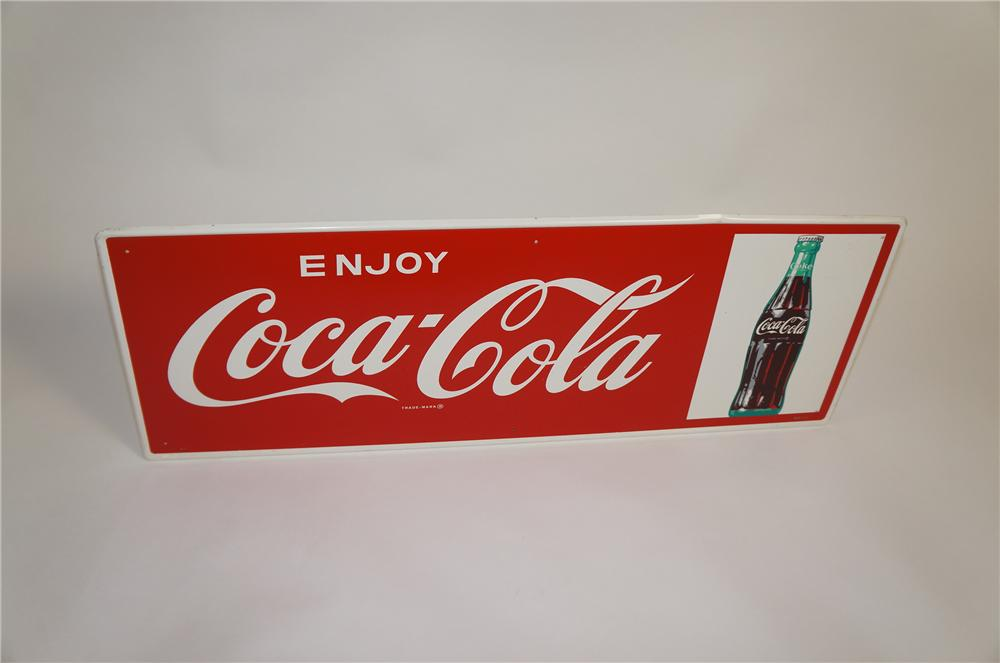 Sharp N.O.S. late 1950s Enjoy Coca-Cola self-framed tin sign with bottle graphic. - Front 3/4 - 151654