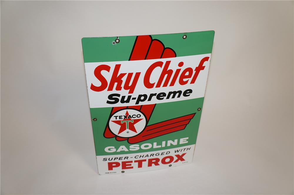 "Good Looking 1960 Texaco Sky Chief Supreme Gasoline with Petrox porcelain pump plate sign.  Condition: Excellent++  Size 12""x18"" - Front 3/4 - 151660"