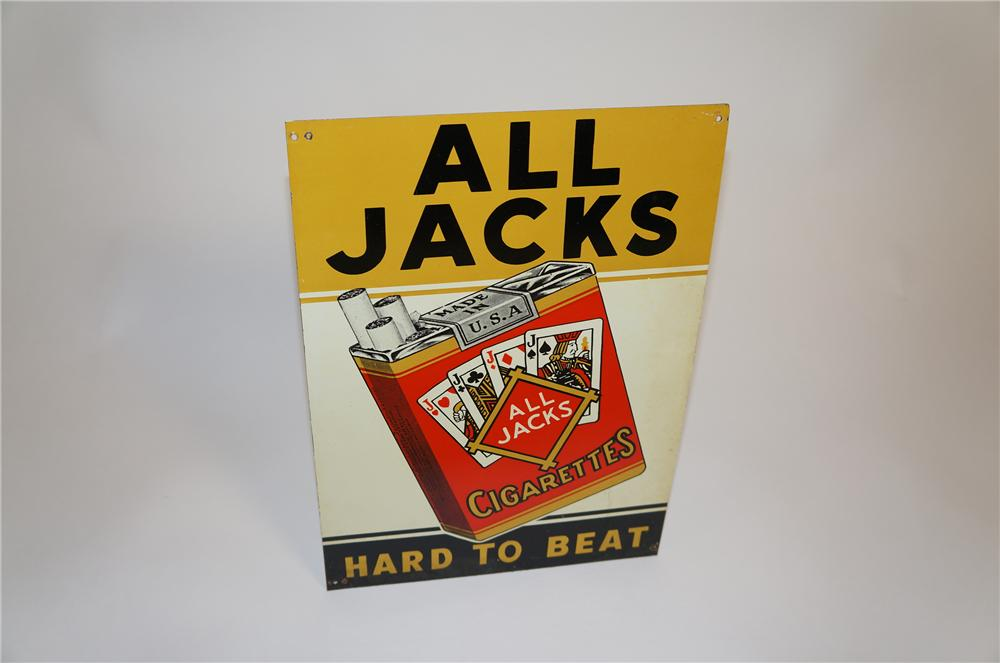 "Neat 1930s All Jacks ""Hard to Beat"" Cigarettes single-sided tin sign with graphics. - Front 3/4 - 151662"