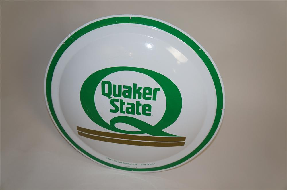 N.O.S. Quaker State Motor Oil bulls-eye tin painted garage sign. - Front 3/4 - 151682