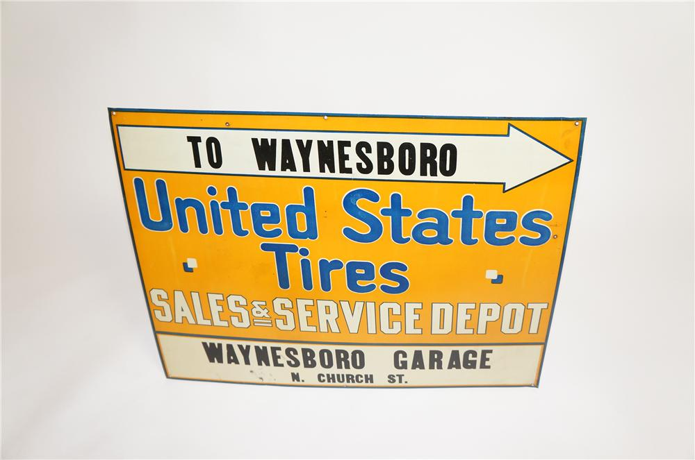 Late 1920s-30s United States Tires Sales and Service single-sided tin painted garage sign. - Front 3/4 - 151737
