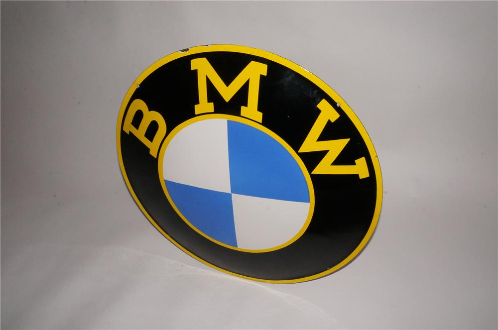 Highly desirable 1950s BMW Automobiles single-sided porcelain dealership sign. - Front 3/4 - 151740