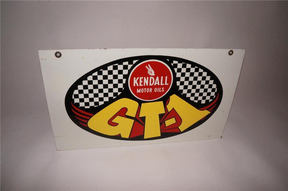 Fabulous 1960s Kendall GT-1 Motor Oil double-sided tin painted garage sign. - Front 3/4 - 151742