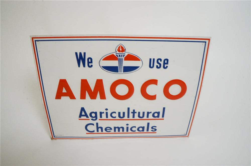 N.O.S. 1950s Amoco Agricultural Chemicals embossed tin service station sign. - Front 3/4 - 151743