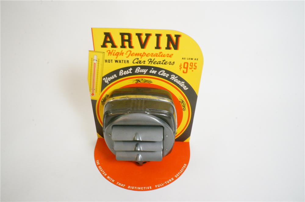 "N.O.S. 1940s Arvin ""High Temperature"" Car Heaters automotive garage counter-top display with heater attached. - Front 3/4 - 151744"