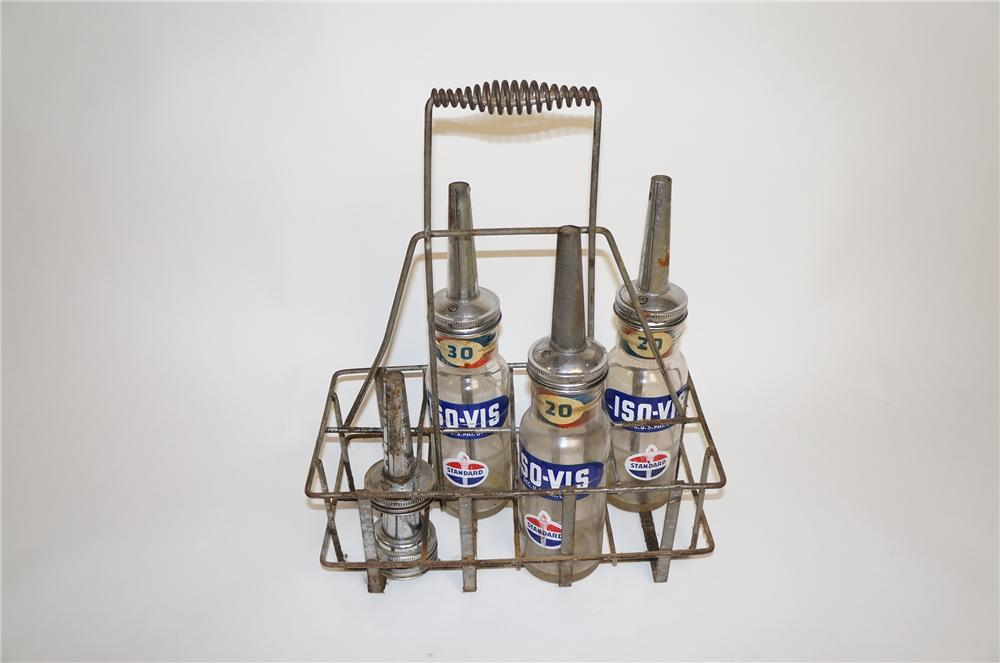 1930s Standard Oil service station oil bottle rack with three vintage Standard Iso-Vis glass oil bottles. - Front 3/4 - 151746