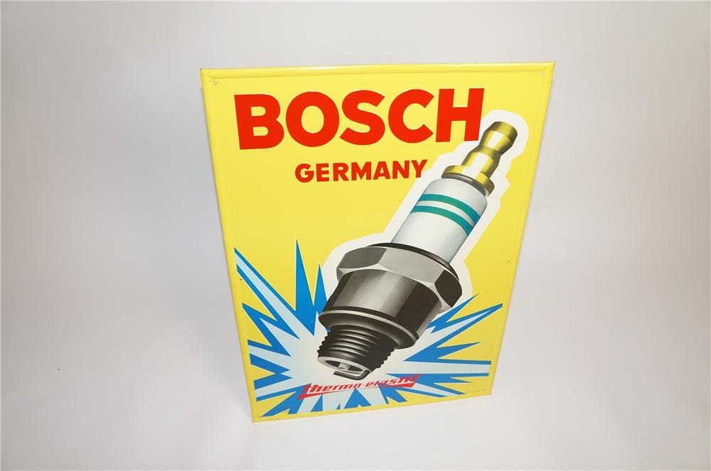 Stellar N.O.S. 1960s Bosch Germany single-side tin garage sign with outstanding plug graphic. - Front 3/4 - 151747