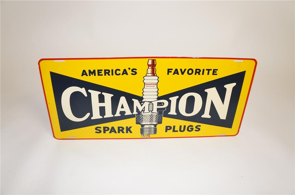 N.O.S. 1940s Champion Spark Plugs single-sided tin automotive garage sign with nice graphics. - Front 3/4 - 151748