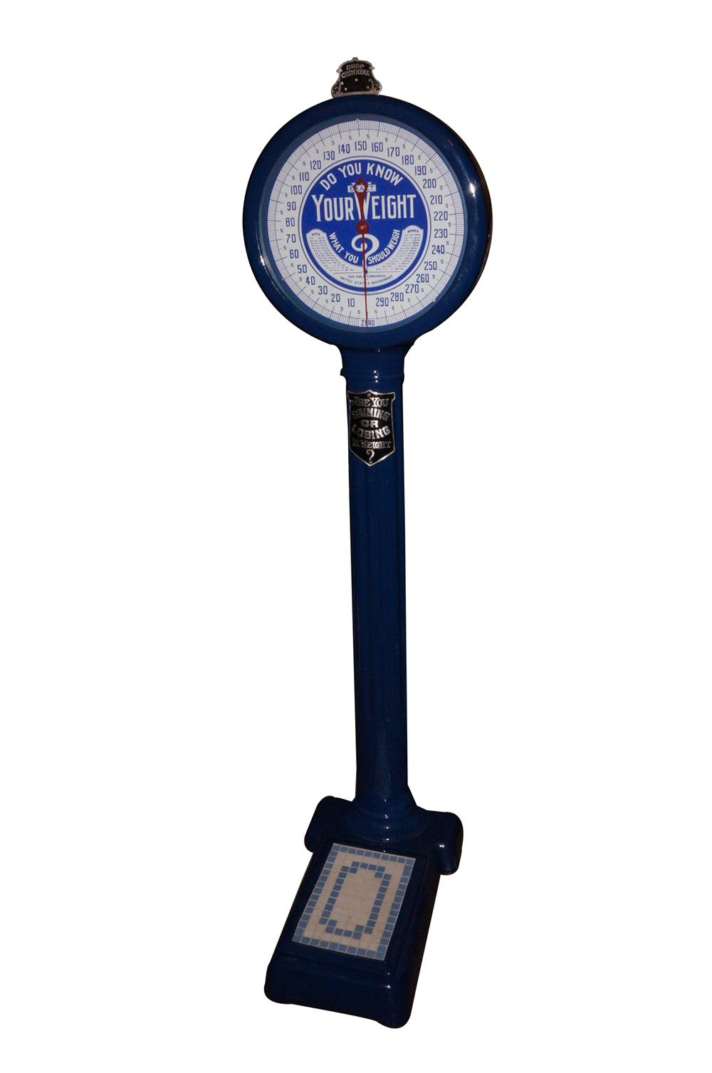 Wonderfully restored 1930s coin-operated service station/drug store porcelian coated penny scale. - Front 3/4 - 151749
