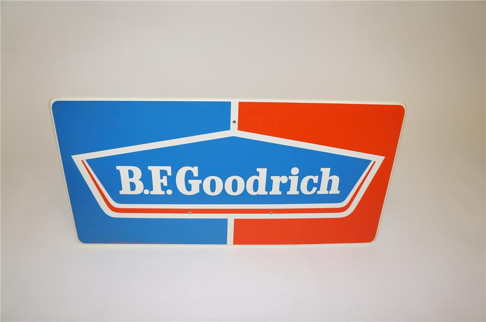 N.O.S. 1960s B.F. Goodrich horizontal tin garage sign.  Pulled out of the original shipping paper. - Front 3/4 - 151753