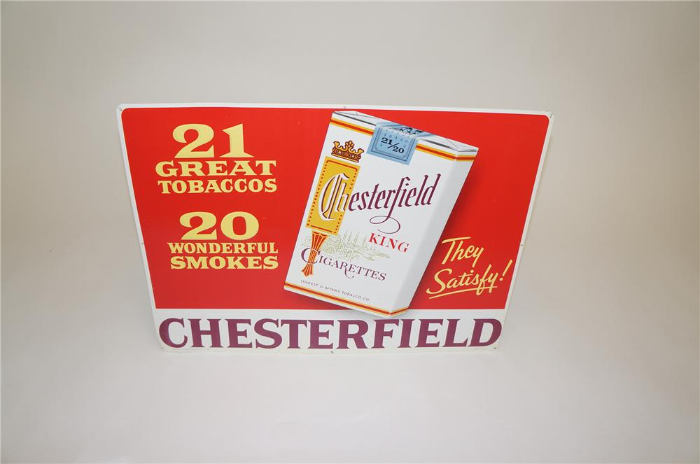 N.O.S. 1950s Chesterfield Cigarettes tin general store sign with six pack graphic. - Front 3/4 - 151754