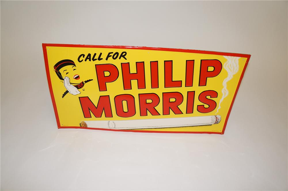 N.O.S. 1940s Phillip Morris Cigarettes embossed tin general store sign with nice graphics. - Front 3/4 - 151758