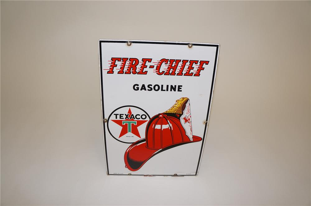 1947 Texaco Fire Chief Gasoline porcelain pump plate sign with fire chief graphics. - Front 3/4 - 151759