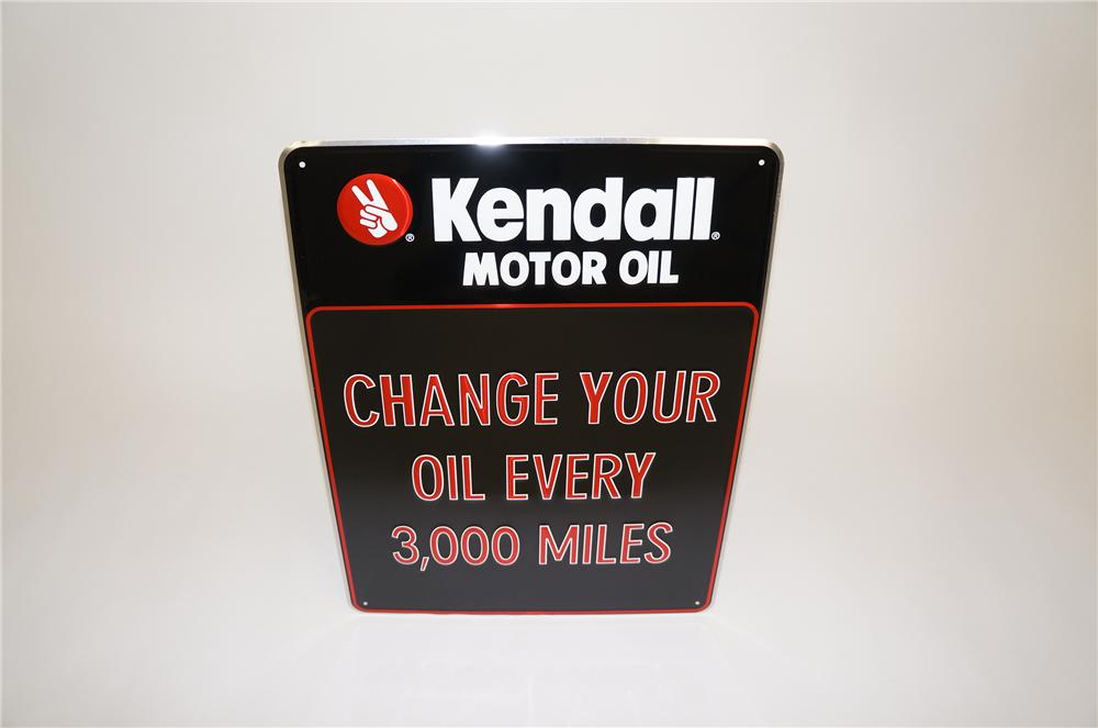 """N.O.S. Kendall Motor Oil """"Change Your Oil"""" embossed tin garage sign. - Front 3/4 - 151766"""