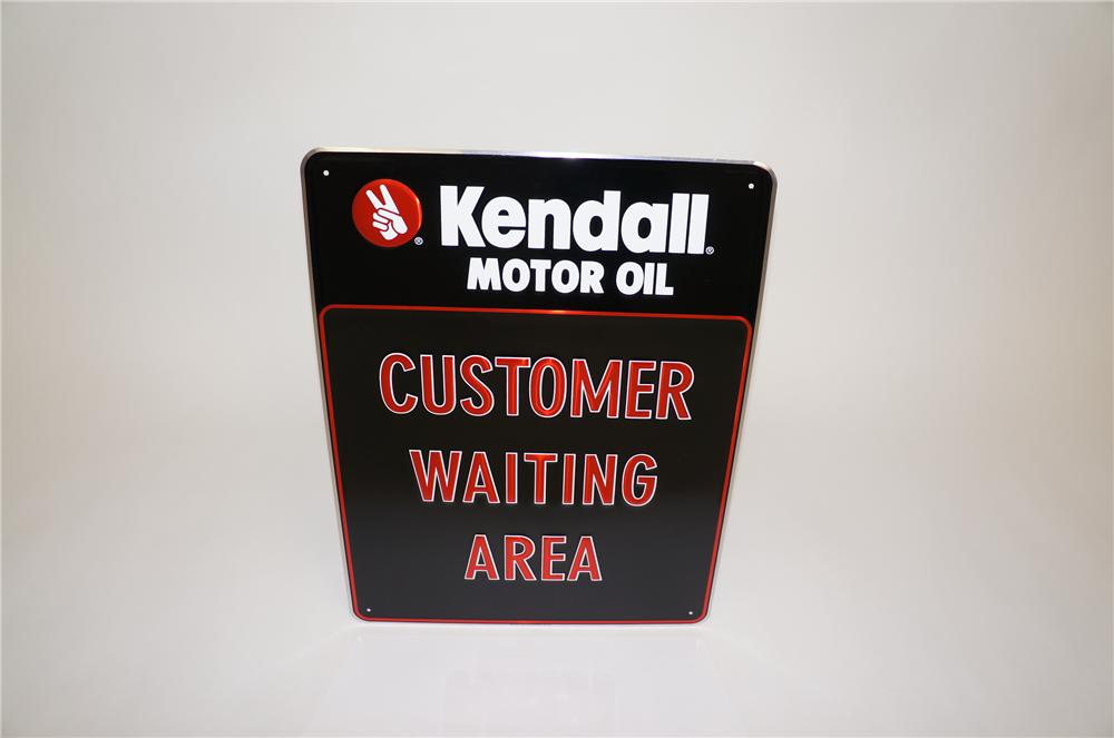 """N.O.S. Kendall Motor Oil """"Customer Waiting Area"""" embossed tin garage sign. - Front 3/4 - 151767"""
