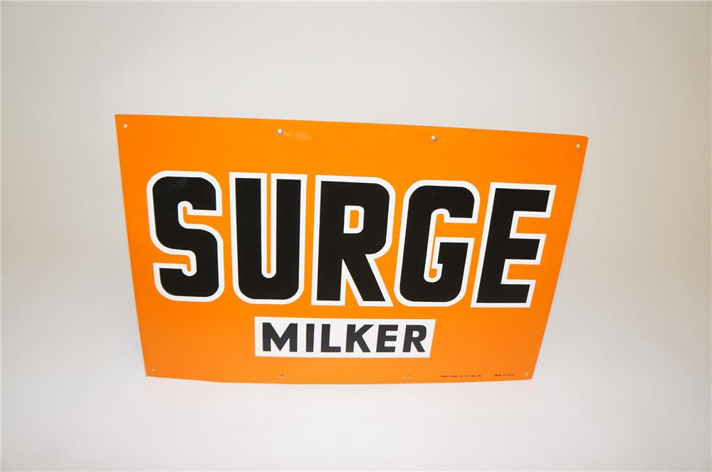 N.O.S. 1950s Surge Milker single-sided tin general store sign. - Front 3/4 - 151768