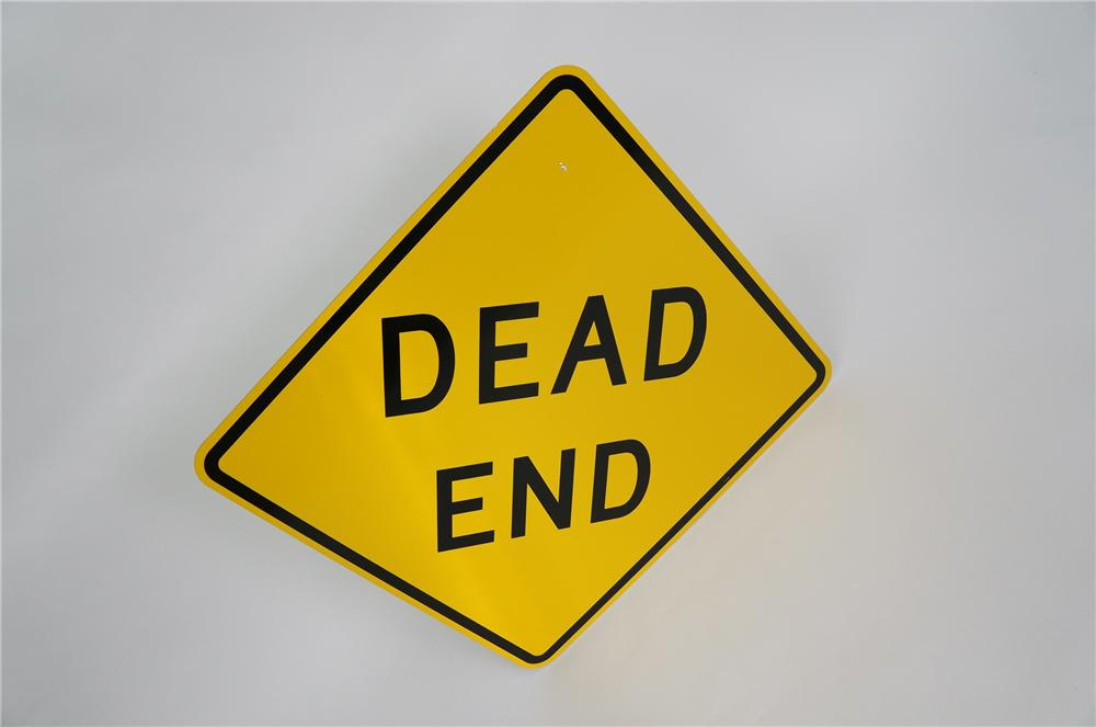 "N.O.S. ""Dead End"" metal highway road sign.  Found in unused condition. - Front 3/4 - 151773"