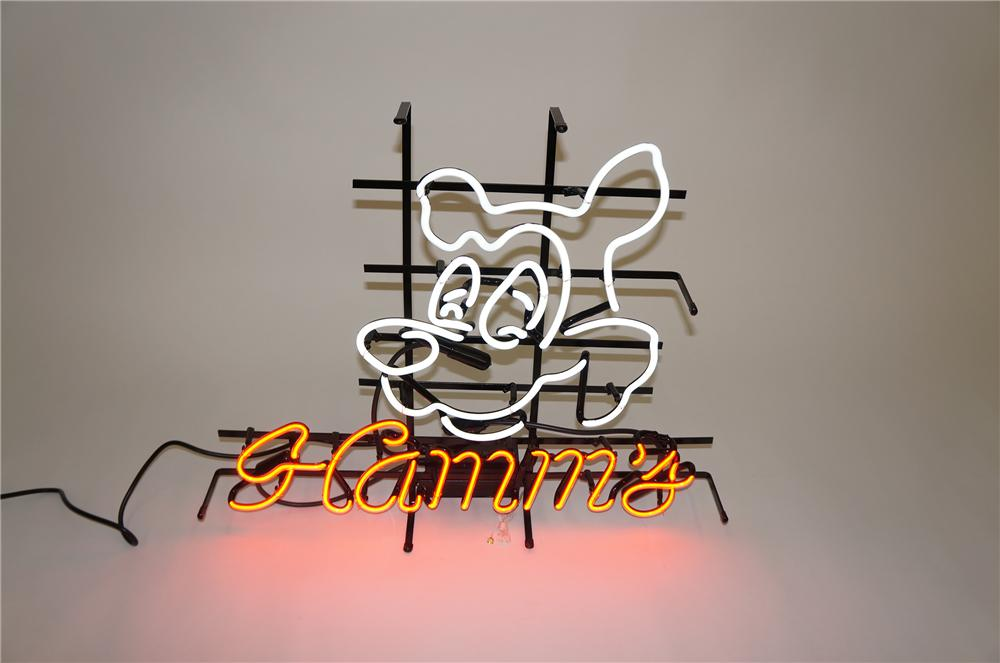 Very nice N.O.S. vintage Hamms Beer neon tavern sign with Bear logo.  Lights brilliantly! - Front 3/4 - 151775
