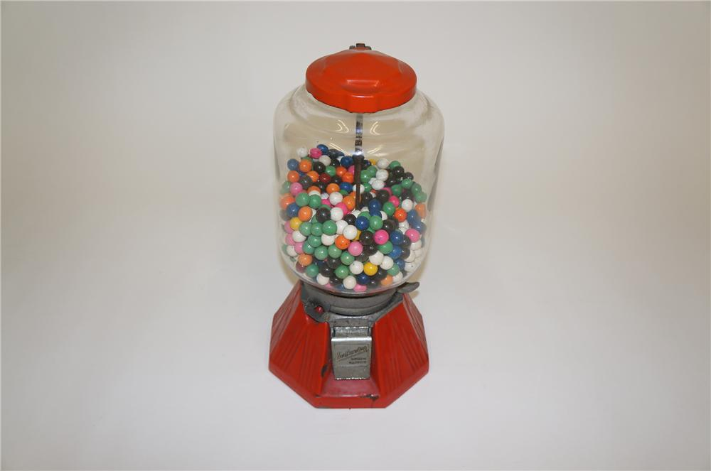 Highly desirable 1930s Northwestern porcelain coated one cent gumball machine.  Found in all original condition. - Front 3/4 - 151777