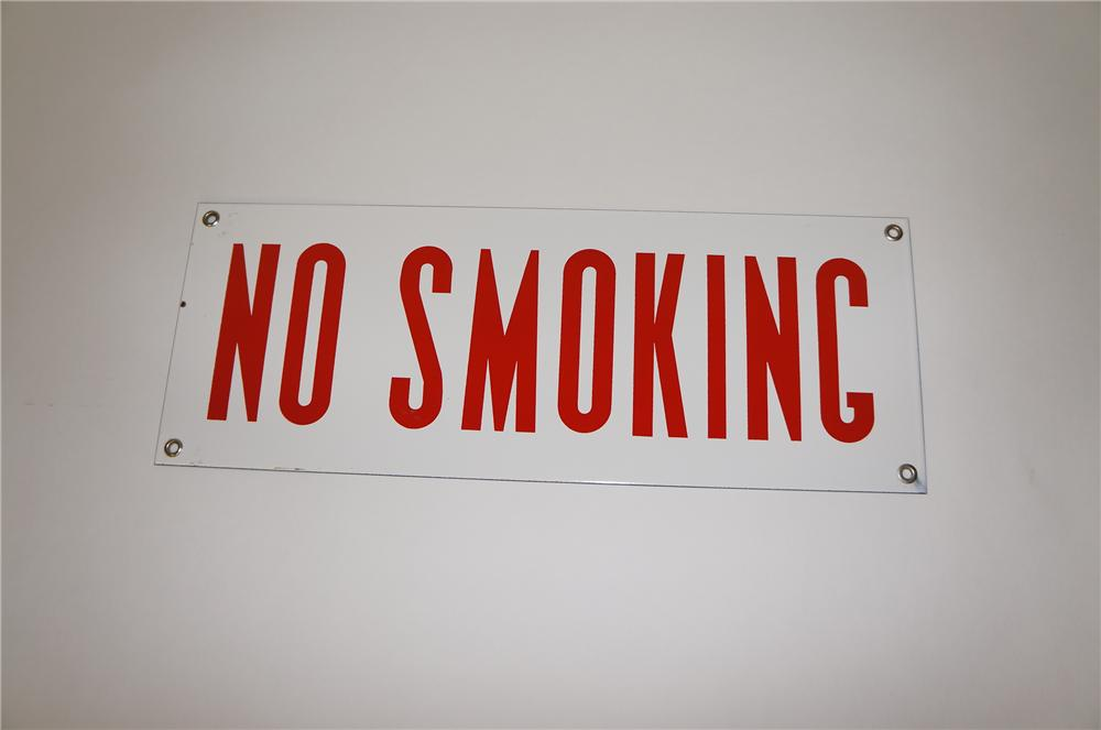 "N.O.S. 1940s Automotive Garage service department ""No Smoking"" single-sided porcelain sign. - Front 3/4 - 151782"