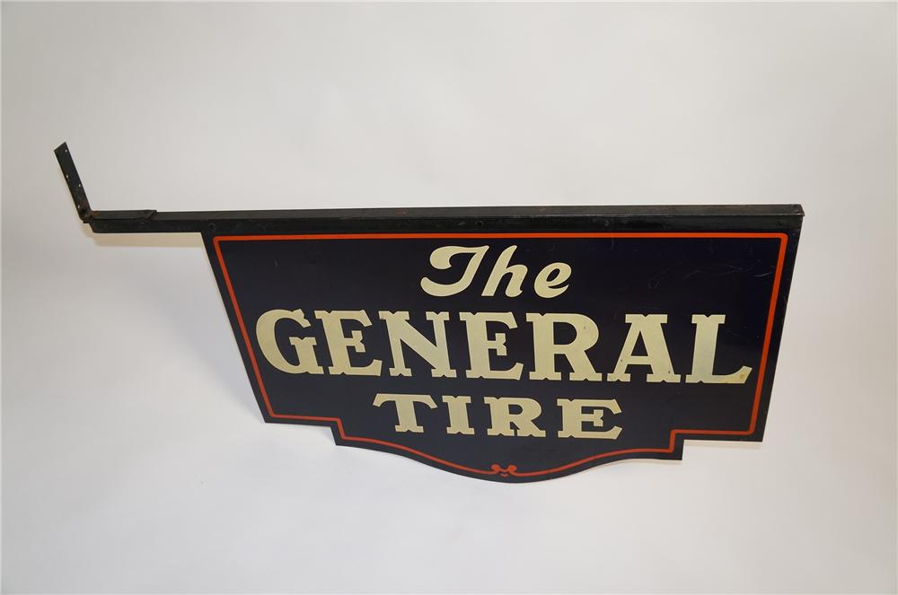 Never before seen rare 1930s The General Tire double-sided die-cut tin sign with hanging bracket attached. - Front 3/4 - 151792