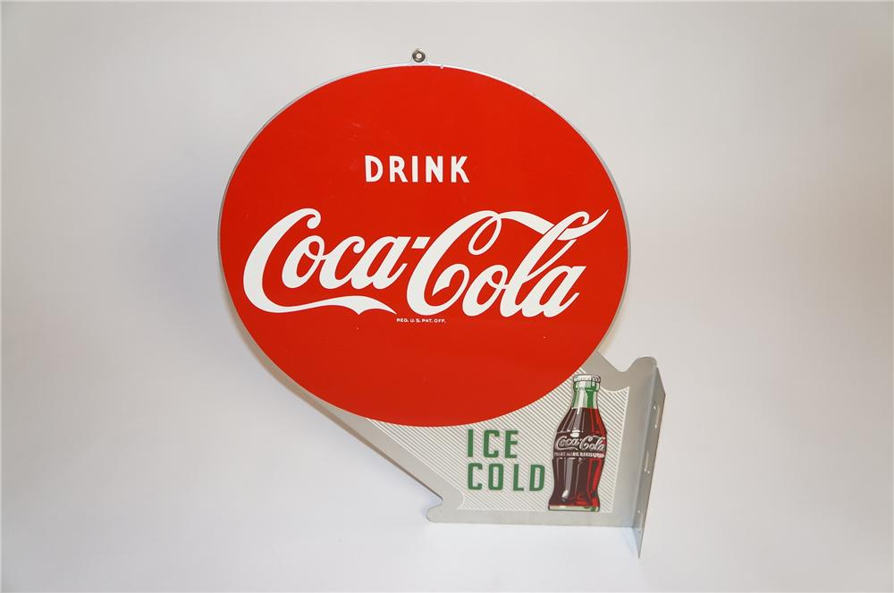 N.O.S. 1957 Drink Coca-Cola Ice Cold double-sided tin flange sign with bottle graphic. - Front 3/4 - 151797