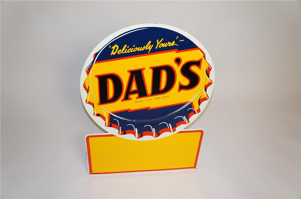 N.O.S. 1950s Dads Root Beer single-sided bottle-cap shaped tin sign. - Front 3/4 - 151799