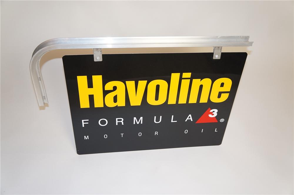 N.O.S. Texaco Havoline Motor Oil double-sided tin service station sign with hanging bracket. - Front 3/4 - 151800