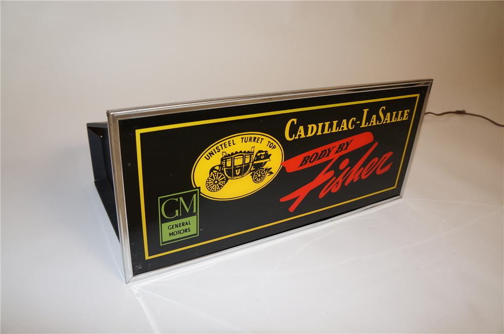 "Rare 1940s Cadillac-LaSalle ""Body by Fisher"" glass faced light-up dealership sign. - Front 3/4 - 151808"