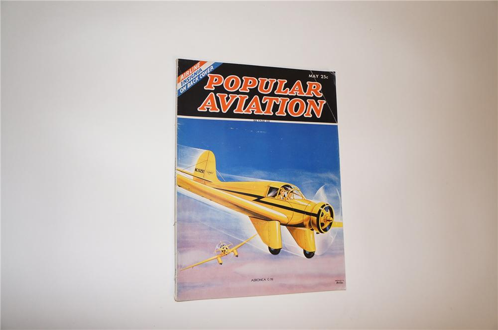 Wonderful May 1937 edition of Popular Aviation. 80 pages of period artwork, photos, stories and more. - Front 3/4 - 151810