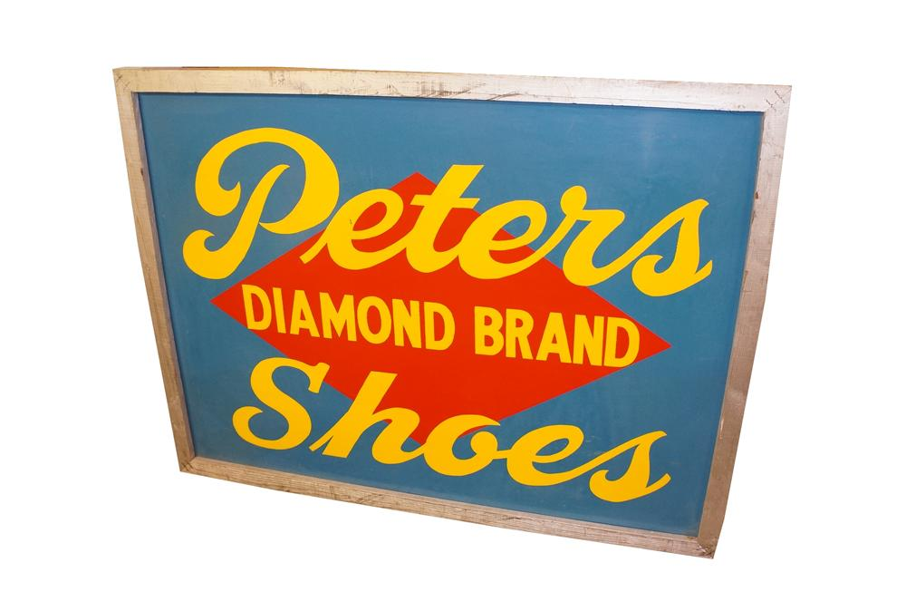 Amazing large 1930s Peters Diamond Brand Shoes double-sided tin painted wood framed general store sign. - Front 3/4 - 151812
