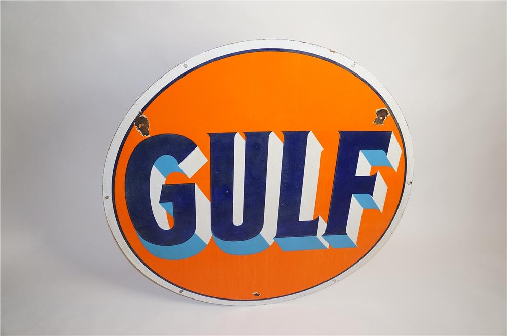 Hard to find 1930s Gulf Oil double-sided porcelain dealership sign.  Nice colors. - Front 3/4 - 151813