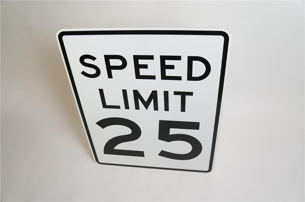 Authentic Speed Limit 25 metal highway road sign.  Found unused. - Front 3/4 - 151816