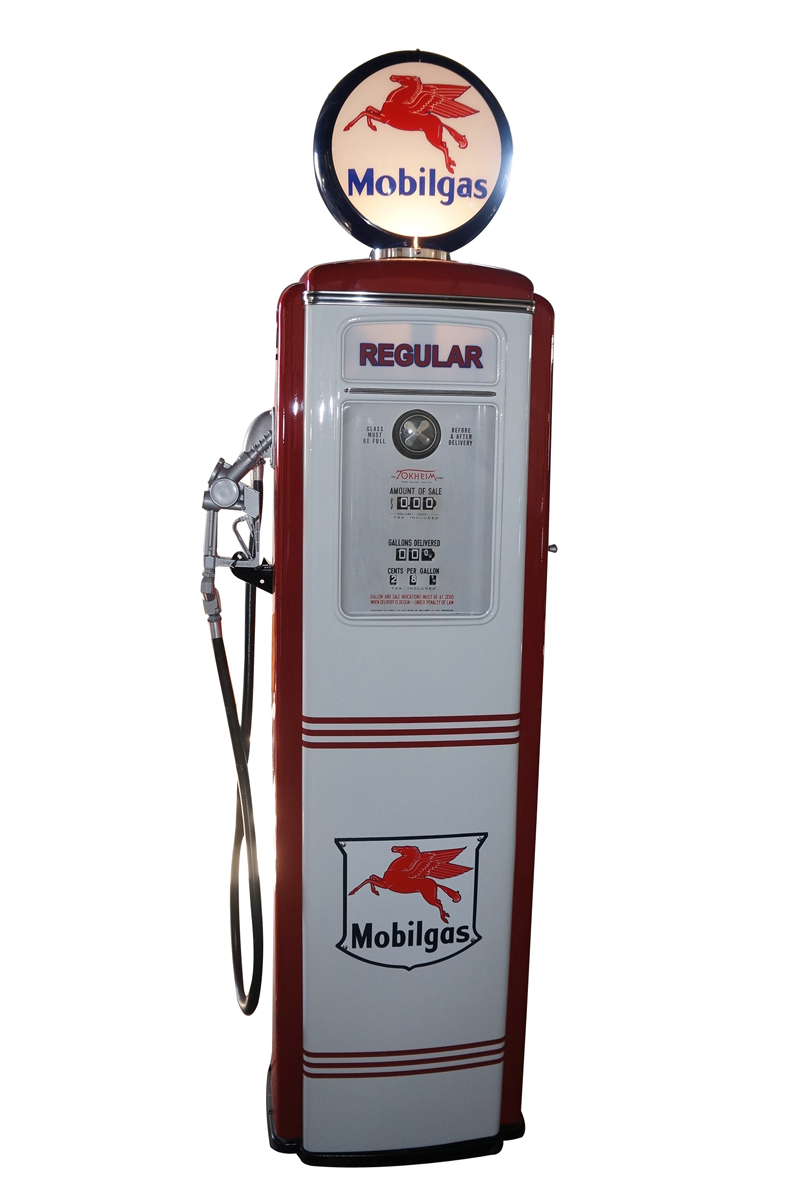 Exceptional late 1940s-50s Mobil Oil Tokheim 39 tall restored service station gas pump with ad glass. - Front 3/4 - 151823