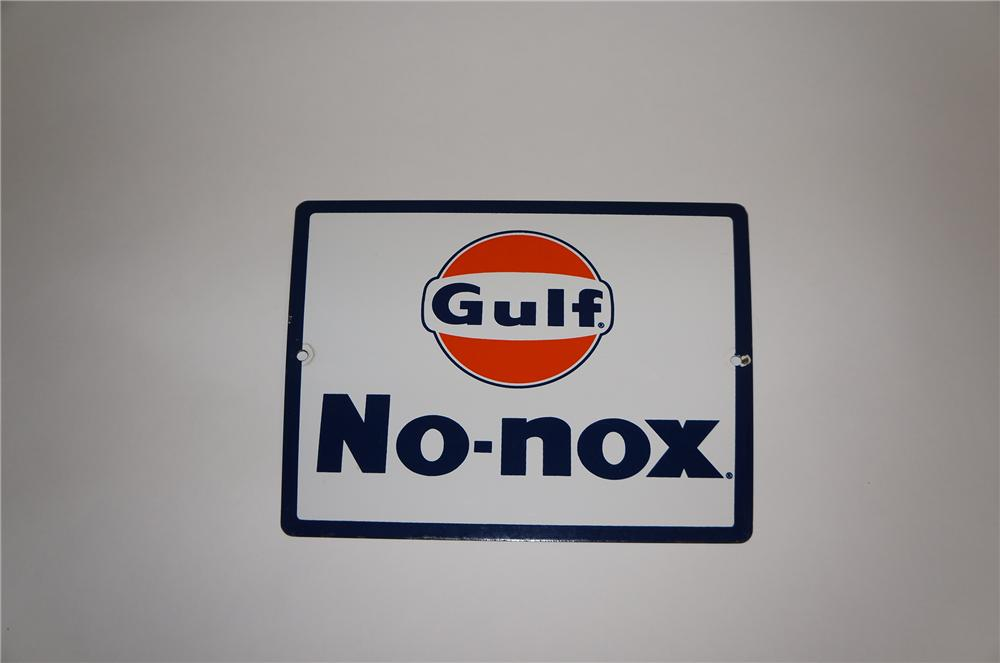 Sharp late 1950s-60s Gulf No-Nox porcelain pump plate sign. - Front 3/4 - 151827