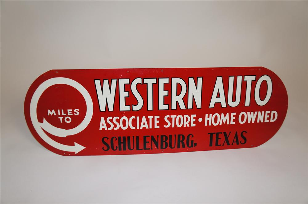 Sharp N.O.S. 1930s Western Auto Stores embossed tin sign. - Front 3/4 - 151829