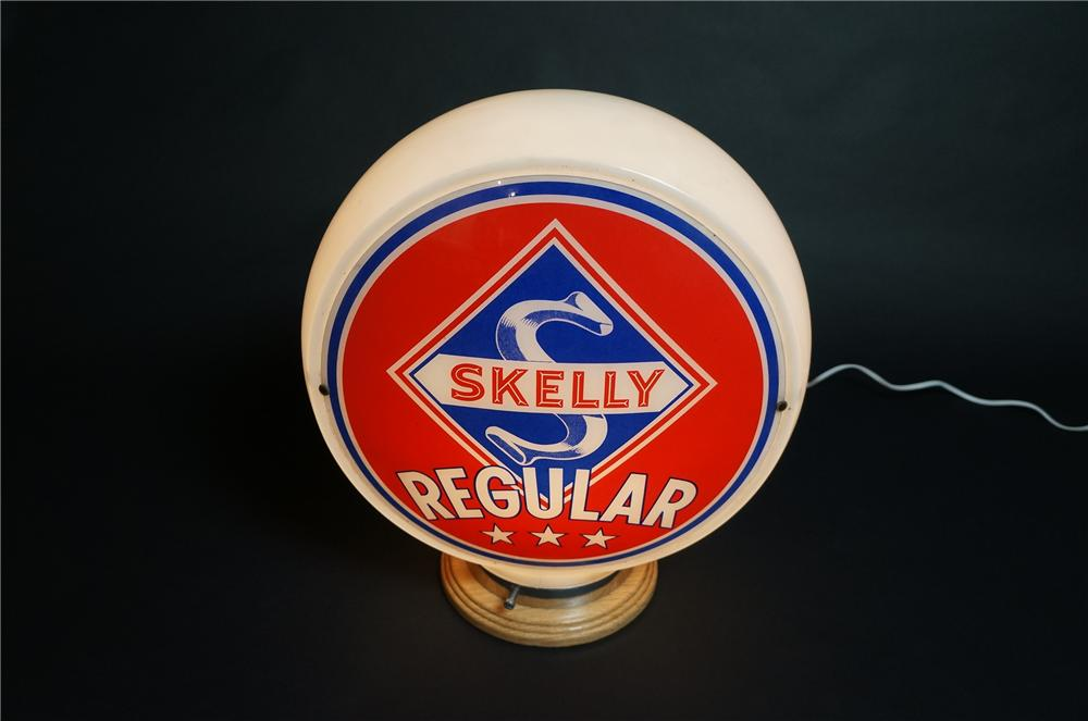 Wonderful 1940s Skelly Regular wide bodied glass gas pump globe.  Very sharp! - Front 3/4 - 151831