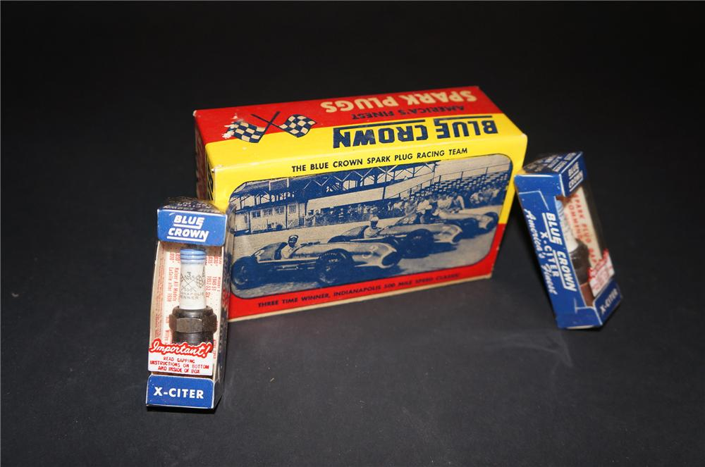 Sharp N.O.S. 1950s Blue Crown Spark Plugs counter-top display box still full and with period racing graphics. - Front 3/4 - 151836