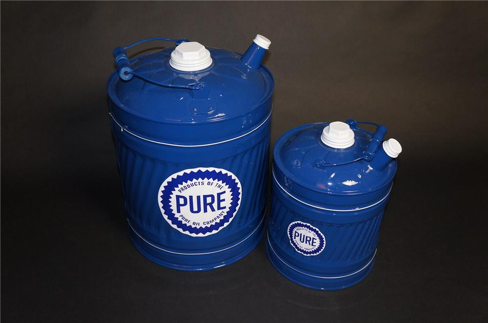 Lot of two vintage 1940s Pure Oil service station multi-fluid tins for gas, oil and kerosene. - Front 3/4 - 151841
