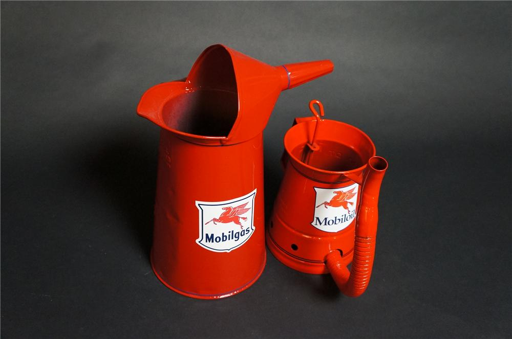 Lot of two vintage restored Mobil Oil filling station restored mutli-fluid oilers. - Front 3/4 - 151850