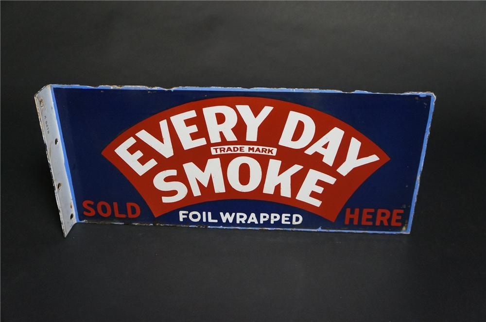 1930s Every Day Smoke Sold Here Cigarettes double-sided porcelain general store flange sign. - Front 3/4 - 151853