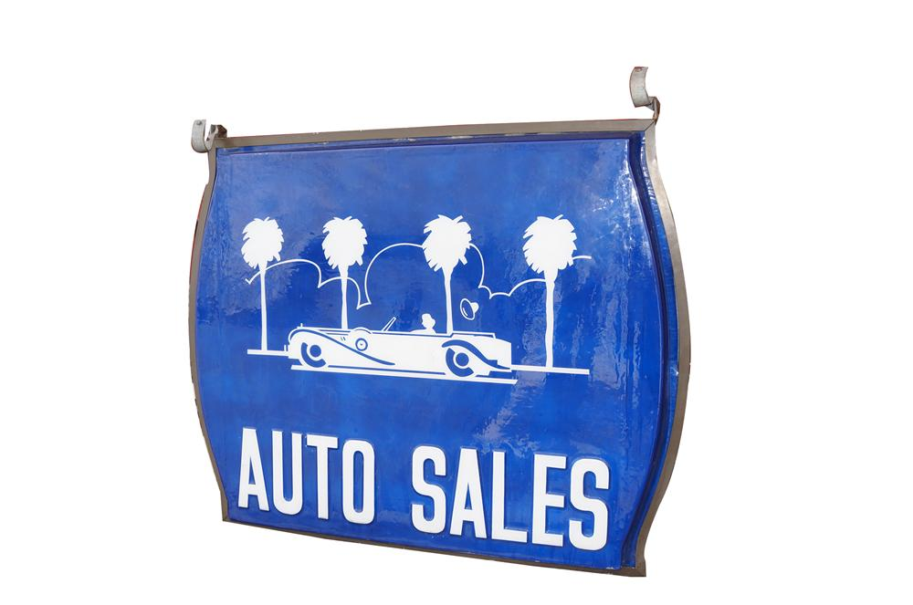 Very neat 1950s-60s Auto Sales double-sided light-up dealership sign with classic car motif. - Front 3/4 - 151858