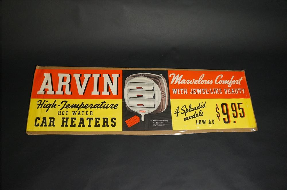 "Very neat N.O.S. 1930s Arvin ""Hot Water"" car heaters automotive garage poster with graphics. - Front 3/4 - 151860"
