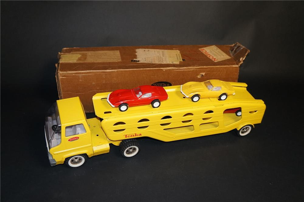 1970 Tonka Trucks model #840 car carrier with four 1968 corvettes still in the original box. - Front 3/4 - 151869