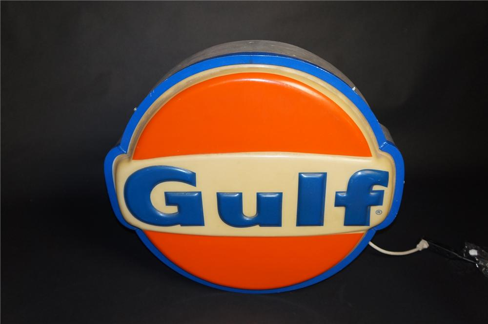 Nifty 1960s-70s Gulf Oil single-sided light-up service station sign.  Lights well! - Front 3/4 - 151884