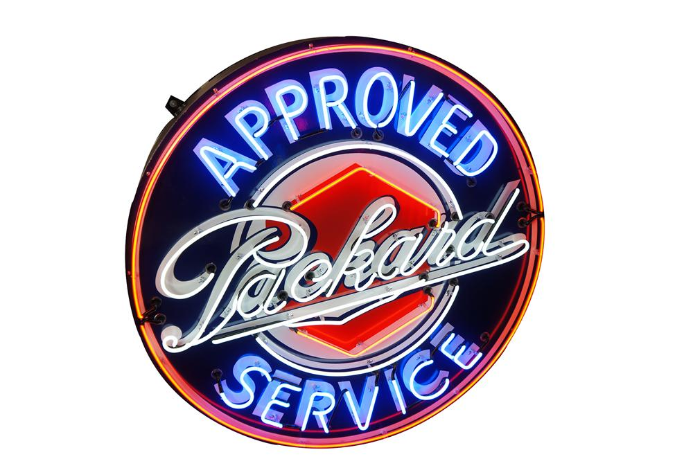 Amazing 1930s-40s Packard Automobiles single-sided porcelain sign with animated neon. - Front 3/4 - 151886