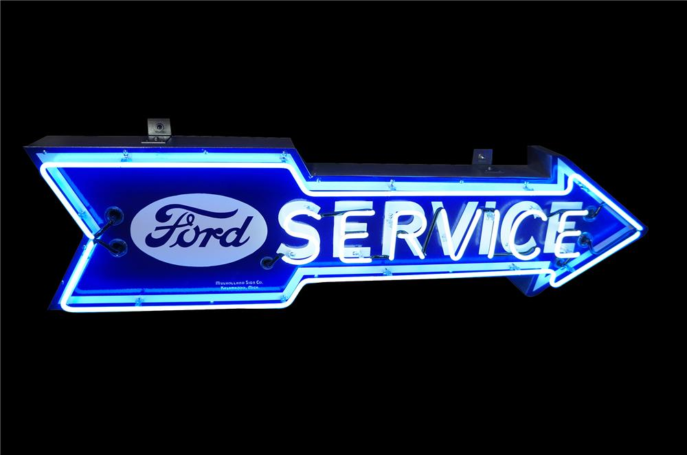 Impressive 1930s Ford Service single-sided arrow shaped neon porcelain dealership sign. - Front 3/4 - 151888