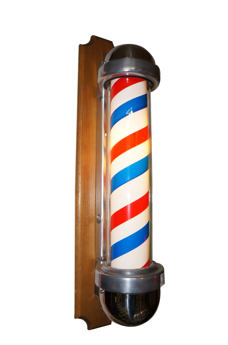 Fabulous All original 1950s Marvy Barber Shop lighted pole works and lights great. - Front 3/4 - 151890