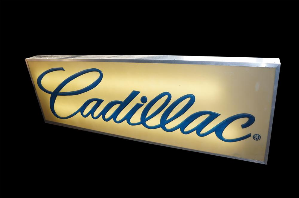 Magnificent 1960s Cadillac Automobiles single-sided light-up dealership sign. - Front 3/4 - 151892