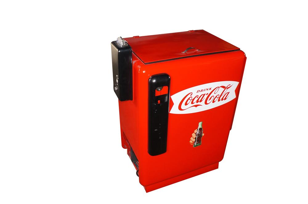Professionally restored 1950s Coca-Cola coin-operated soda slider machine by Ideal. - Front 3/4 - 151897